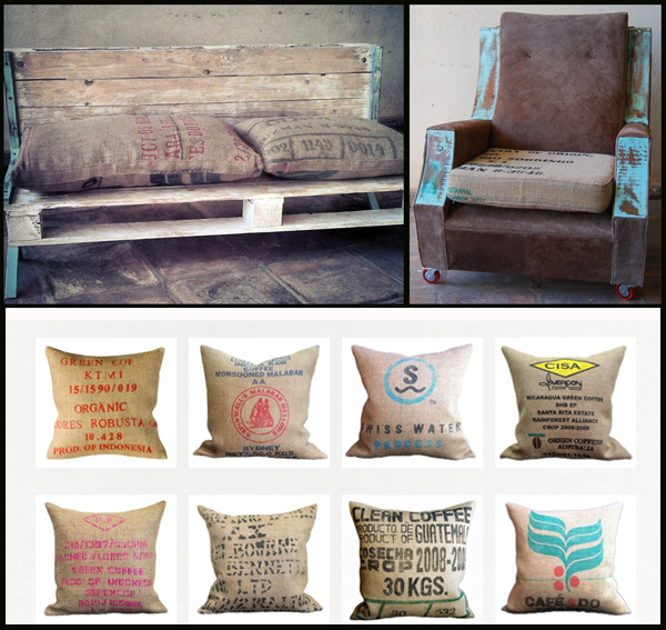 Cojines para sofás sacos cafe