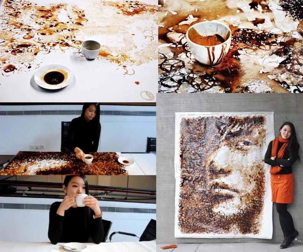 Red Hong, artista que utiliza manchas de cafe